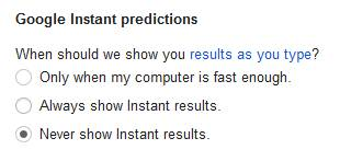 Turning off Google instant predictions