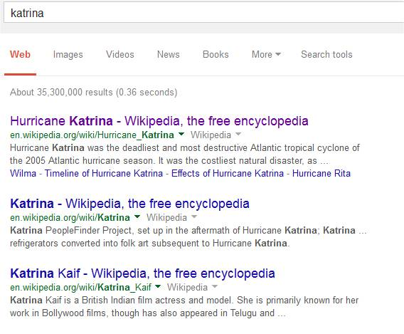Katrina search results