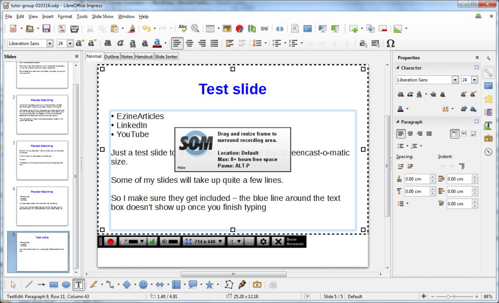 LibreOffice and Screencast-o-matic