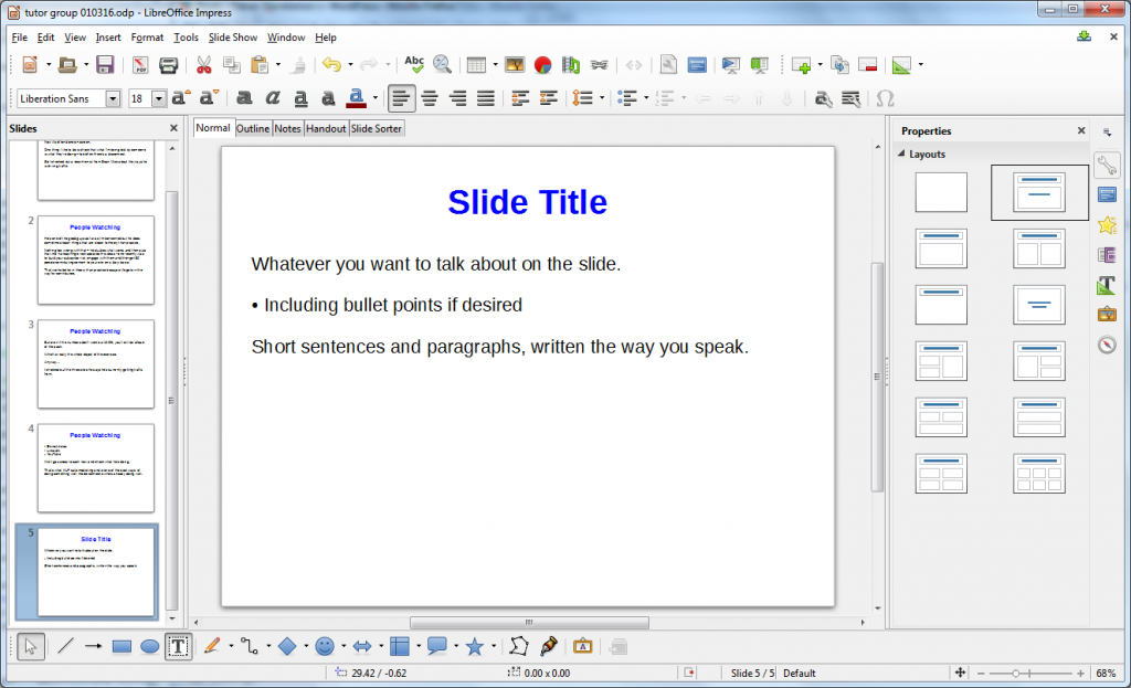 LibreOffice slide
